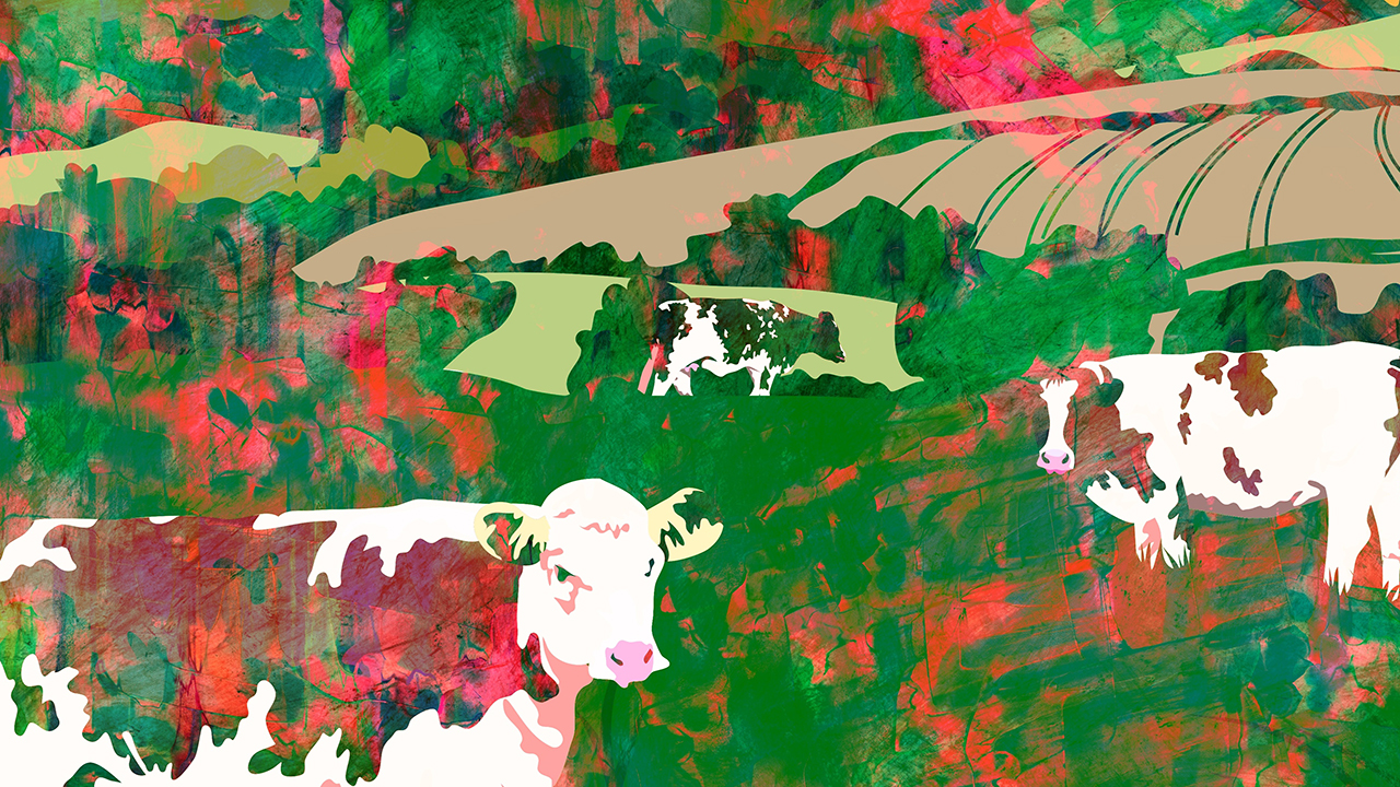 Grunge watercolour painting of cows grazing in a field with rura